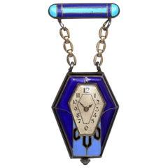 Art Nouveau Silver Blue Enamel Cabochon Sapphire Watch Brooch Original Box