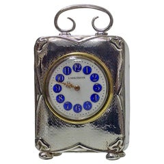 Art Nouveau Silver Carriage Clock Birmingham, 1911
