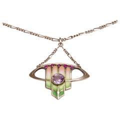 Art Nouveau Silver Enamel Pendant by Levinger & Bissinger circa 1905 Green Pink