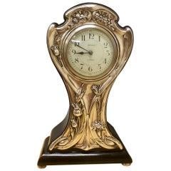 Art Nouveau Silver Fronted Balloon Mantel Clock