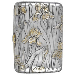 Art Nouveau Silver Gilt Iris Case