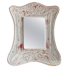 Art Nouveau Silver Hand Carved Wooden Mirror, Spain, 1970