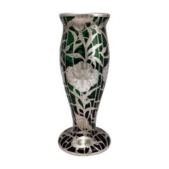 American Art Nouveau and Sterling Silver Overlay Green Glass Vase