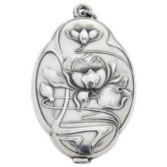 Art Nouveau Silver Pendant with Lilies