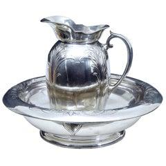 Art Nouveau Silver Plate Jug and Bowl by Christofle
