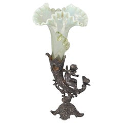 Art Nouveau Silver Plated and Art Glass Solitaire Vase, Germany, 1910s
