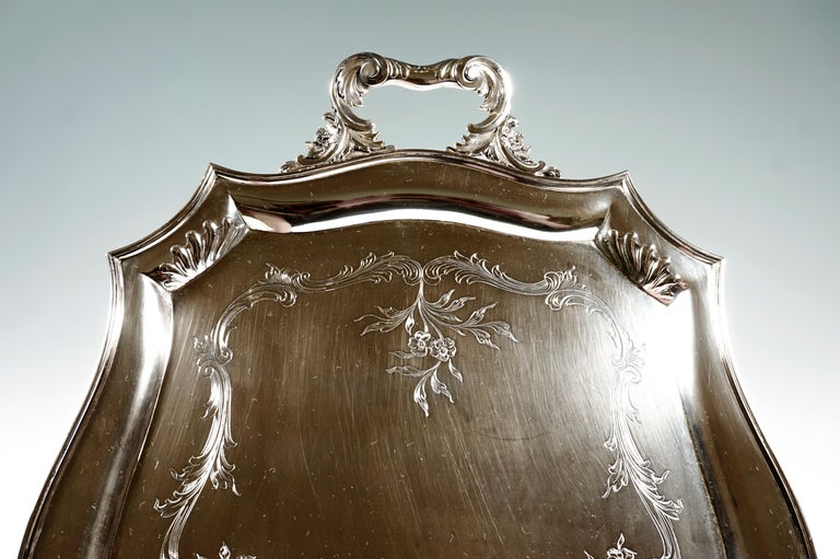 Hand-Crafted Art Nouveau Silver Tray with a Curved Edge, by J.C. Klinkosch Vienna, ca 1900 For Sale