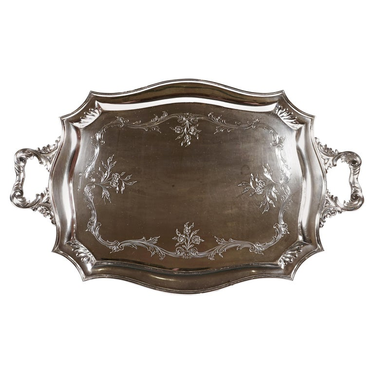 Art Nouveau Silver Tray with a Curved Edge, by J.C. Klinkosch Vienna, ca 1900 For Sale