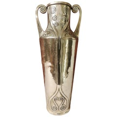 Art Nouveau Silver Vase with Hammered Details by Carl Deffner