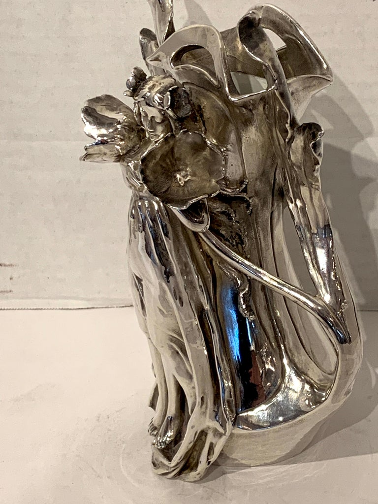 Art Nouveau Silver Overlay Figural Vase For Sale 4