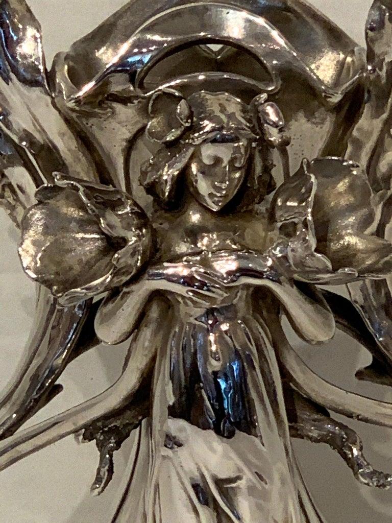Art Nouveau Silver Overlay Figural Vase For Sale 6