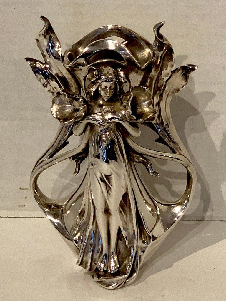 Austrian Art Nouveau Silver Overlay Figural Vase For Sale