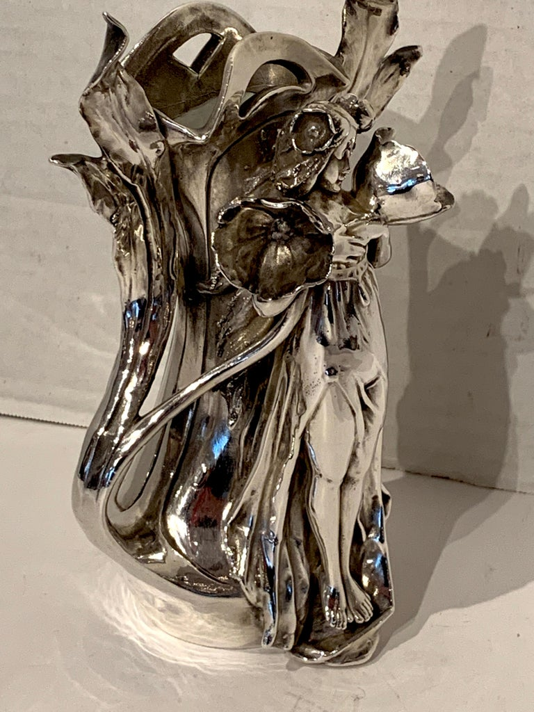 Art Nouveau Silver Overlay Figural Vase For Sale 1