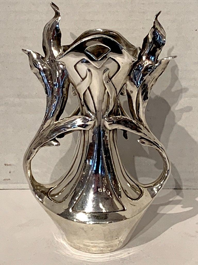 Art Nouveau Silver Overlay Figural Vase For Sale 2