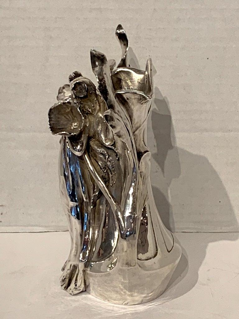 Art Nouveau Silver Overlay Figural Vase For Sale 3