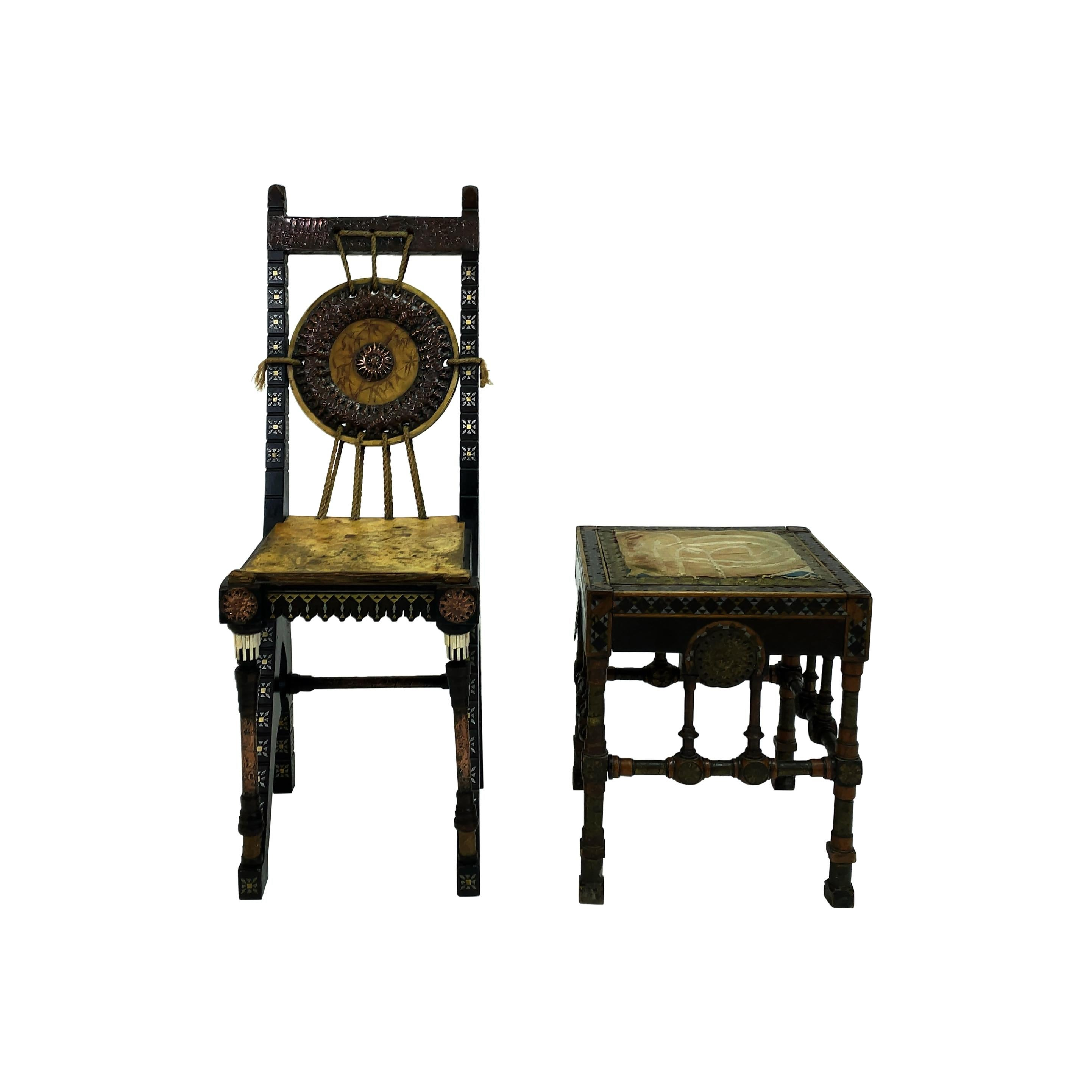 Art Nouveau Small Chair and Stool from Carlo Bugatti, Italy, Early 20th Century