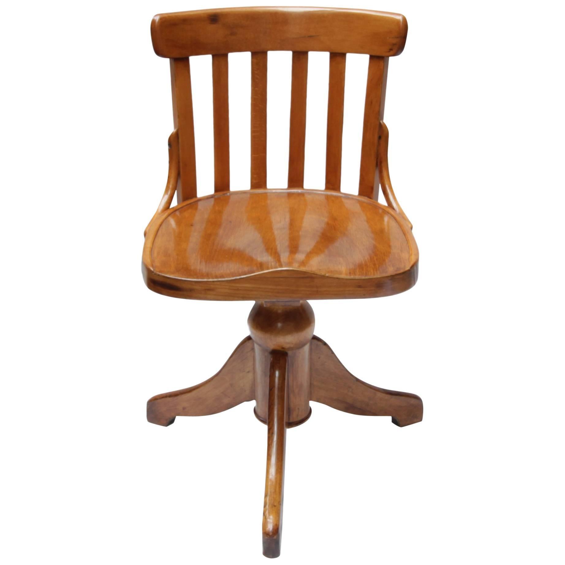 Art Nouveau Soild Beechwood Chair to Turn for Height Adjustable