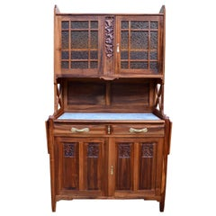 Art Nouveau Solid Cherrywood Carved Buffet, by La Ruche, circa 1911