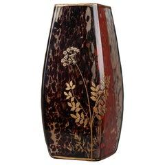 Art Nouveau Speckled Glass Vase Attributed to Ernest Léveillé
