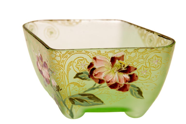 French Art Nouveau Square Glass Bowl with Flowers and Ornaments For Sale