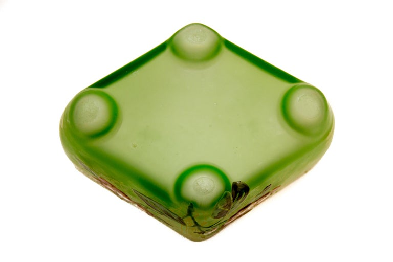 Enameled Art Nouveau Square Glass Bowl with Flowers and Ornaments For Sale
