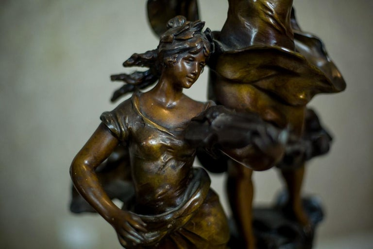 Art Nouveau Statue by Louis A. Moreau, the Turn of the 19th and 20th Century In Good Condition In Opole, PL