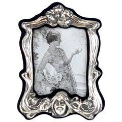 Art Nouveau Sterling Lady Motif Figural Frame