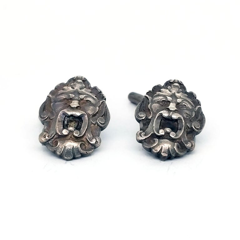 Art Nouveau Sterling Silver Engraved Cufflinks In Good Condition For Sale In Lexington, KY