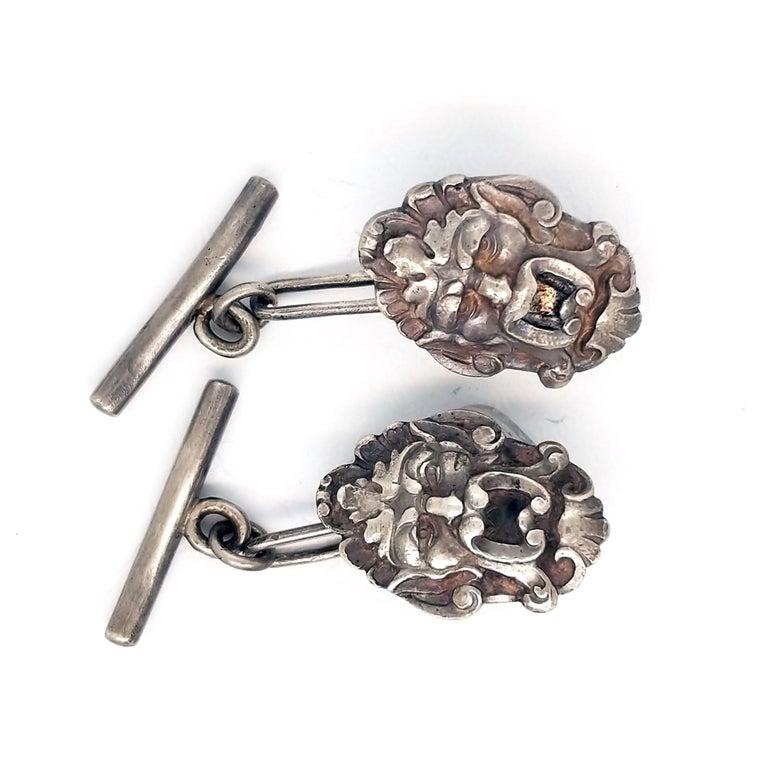 Art Nouveau Sterling Silver Engraved Cufflinks For Sale 1