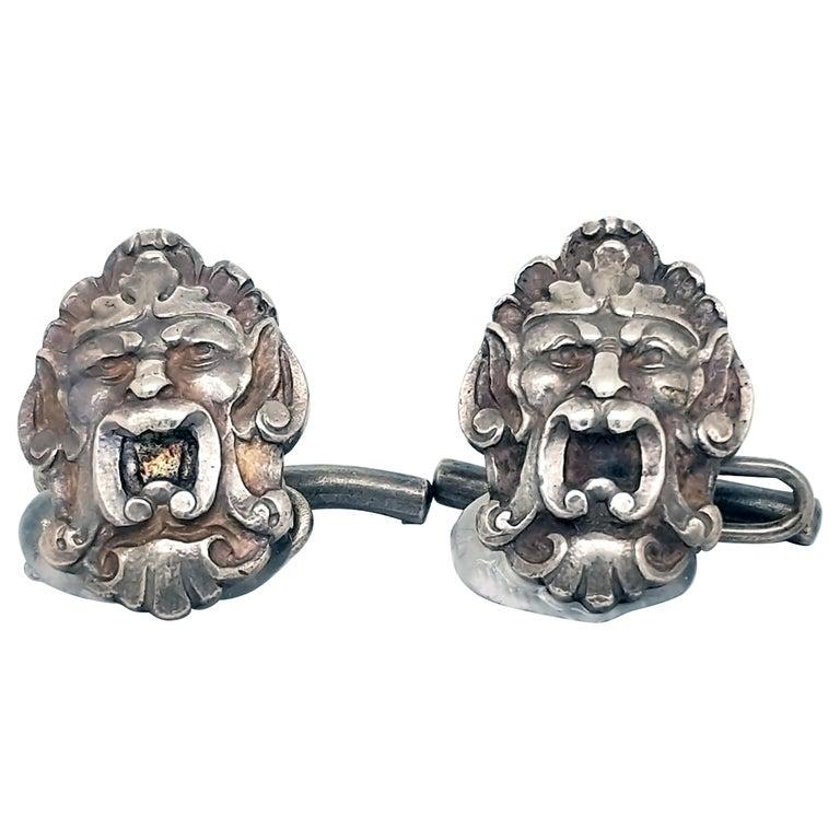 Art Nouveau Sterling Silver Engraved Cufflinks For Sale