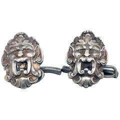Art Nouveau Sterling Silver Engraved Cufflinks