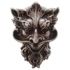Art Nouveau Sterling Silver Garnet Devil Mephistopheles Lapel Pin