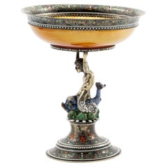 Art Nouveau Sterling Silver Mounted Agate Caviar Server by J.D. Schleissner & S.