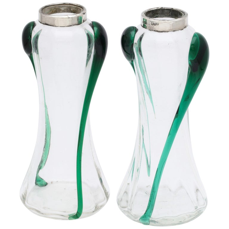 Art Nouveau Sterling Silver-Mounted Blown Green and Clear Glass Bud Vases, Pair For Sale
