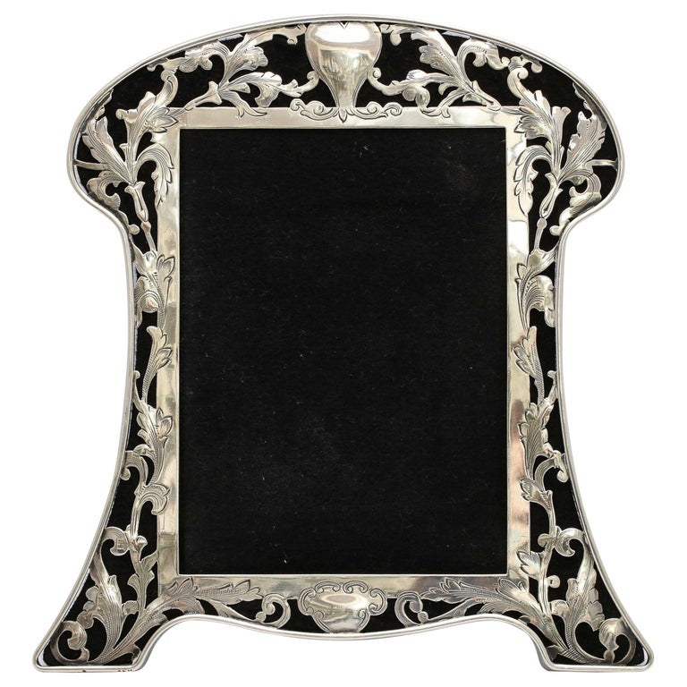 Art Nouveau Sterling Silver-Mounted Picture Frame For Sale