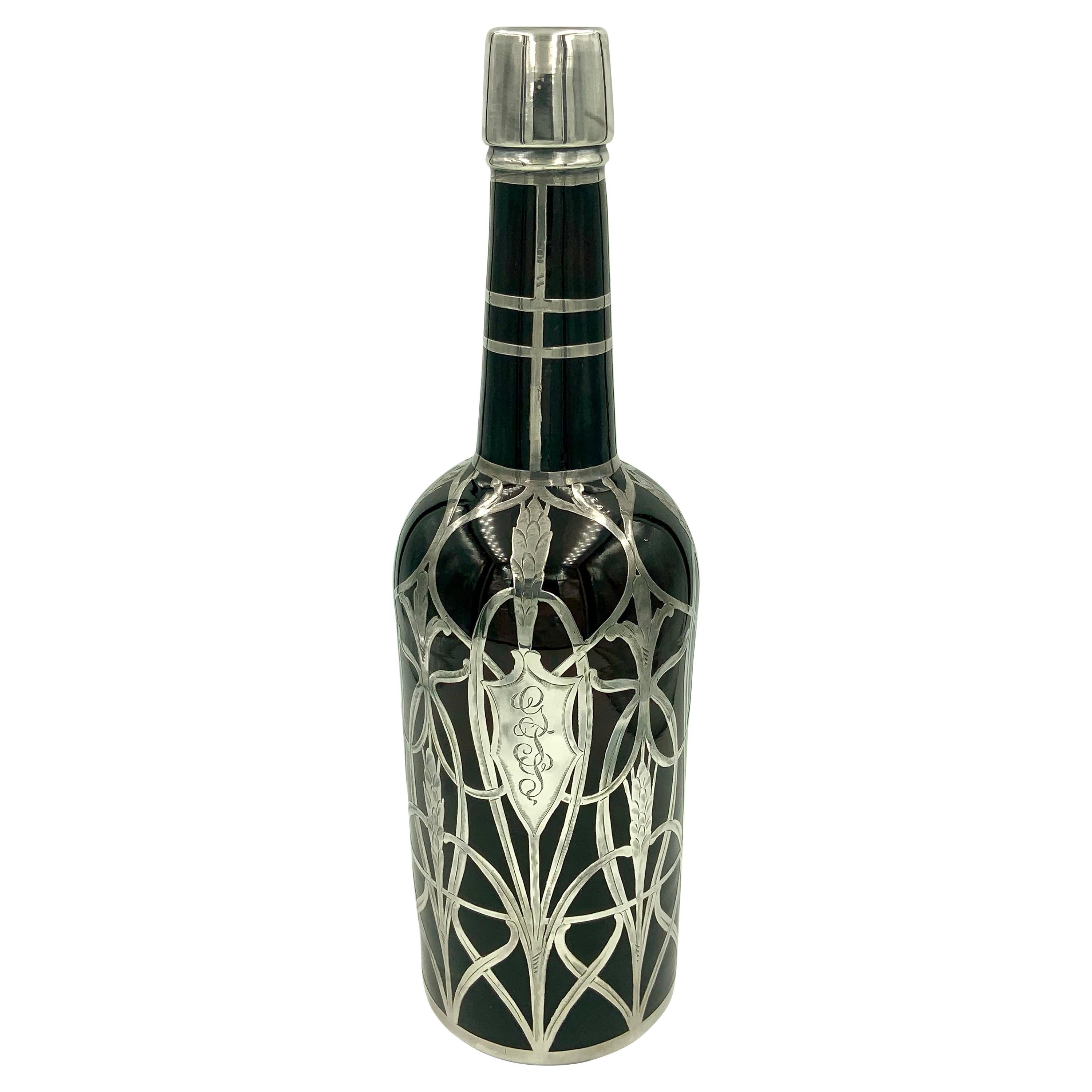 Art Nouveau Sterling Silver Overlay Amber Glass Decanter Whiskey Scotch Bottle