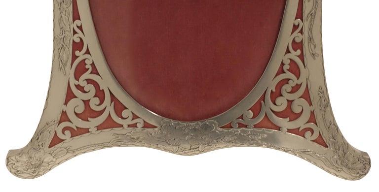 Repoussé Art Nouveau Sterling Silver Picture Frame with Repousse Wild Flowers For Sale