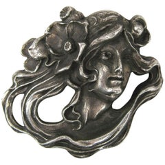 Art Nouveau Sterling Silver Portrait Brooch Pin Pendant 1920s of a woman