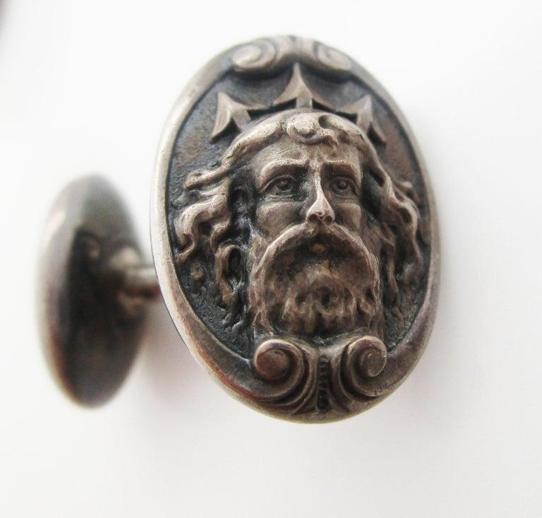 Art Nouveau Sterling Silver Poseidon or Neptune Sea God Cufflinks In Good Condition For Sale In Lexington, KY