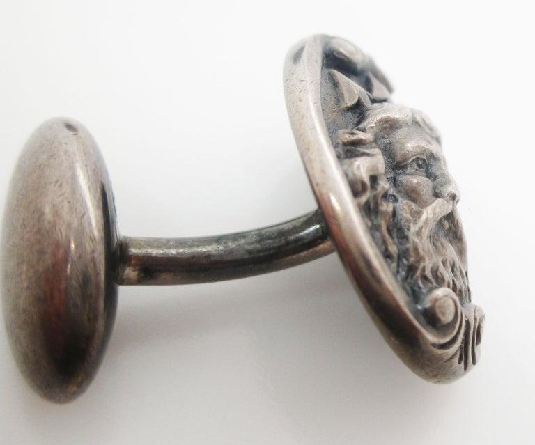 Men's Art Nouveau Sterling Silver Poseidon or Neptune Sea God Cufflinks For Sale