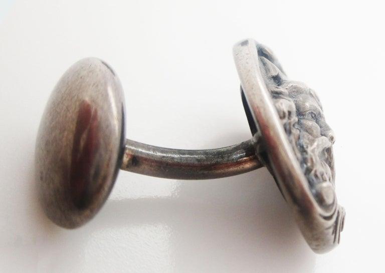 Art Nouveau Sterling Silver Poseidon or Neptune Sea God Cufflinks For Sale 1