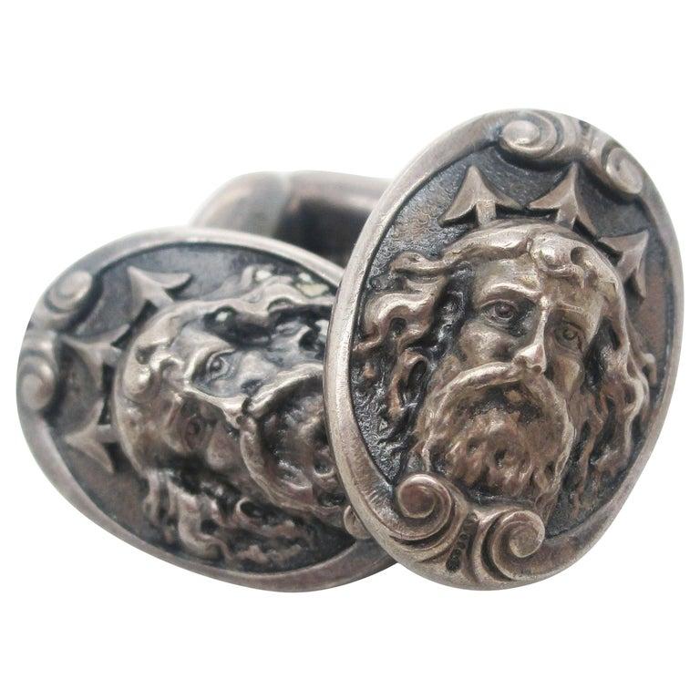 Art Nouveau Sterling Silver Poseidon or Neptune Sea God Cufflinks For Sale