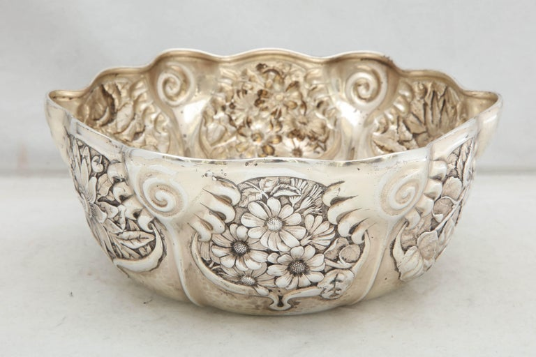 American Art Nouveau Sterling Silver Serving Bowl by Whiting Mfg. Co For Sale