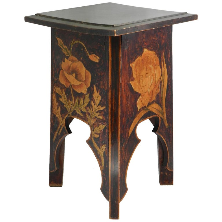 Art Nouveau Stool One Of A Kind French Painted Pyrogravure