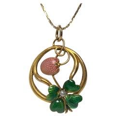 Art Nouveau Strawberry Four-Leaf Clover Enamel Pendant Lucky Charm Gold