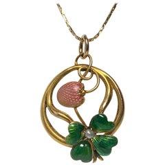 Art Nouveau Strawberry Four Leaf Clover Enamel Pendant Lucky Charm Gold