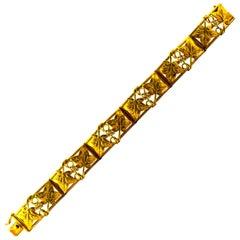 Art Nouveau Style 0.60 Carat White Modern Round Cut Diamond Yellow Gold Bracelet