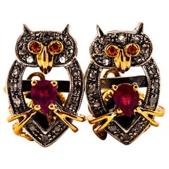"Art Nouveau Style 1.13 Carat White Diamond Ruby Onyx Yellow Gold ""Owl"" Cufflinks"