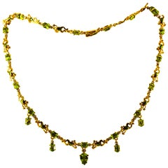 Art Nouveau Style 14.89 Carat White Diamond Peridot Enamel Yellow Gold Necklace