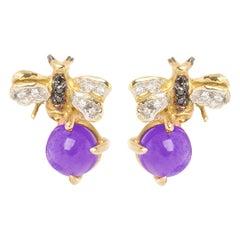 18 Karat Gold Amethyst 0.10 Karat White Diamond Black Diamond Bees Stud Earrings